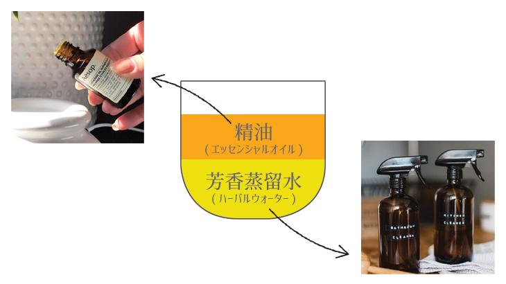 精油と芳香蒸留水の説明図